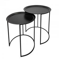 Zestaw dwóch czarnych stolików kawowych/bocznych wsuwanych Etno Chic