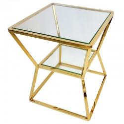 Niklowany złoty stolik boczny -kawowy Art Deco New York