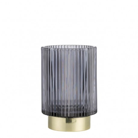 Luksusowy grafitowy szklany lampioin Art Deco