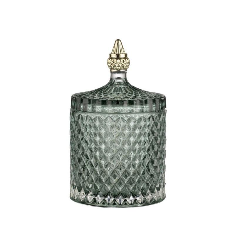 Luksusowy ciemno zielony szklany pojemnik do sypialni łazienki Art Deco
