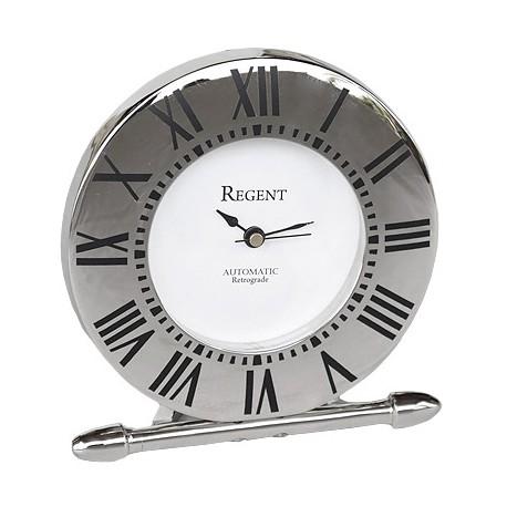 Elegancki niklowany zegarek na stoik nocny Moder Classic