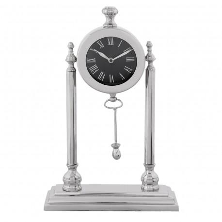 Niklowany zegar na kominek konsolę Modern Classic