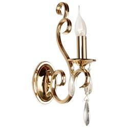 Stylizowany złoty kinkiet z kryształem do salonu sypialni