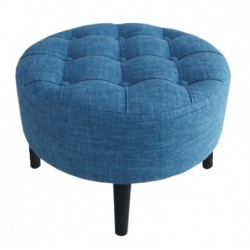 Niebieska pikowana okragła puffa Ø45 do sypialni