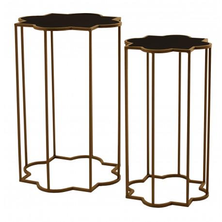 Zestaw dwóch złotych stolików z czarną szybą
