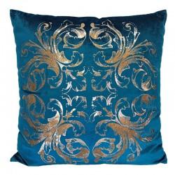 Modna luksusowa 50x50 aksamitna poduszka turkusowo złota