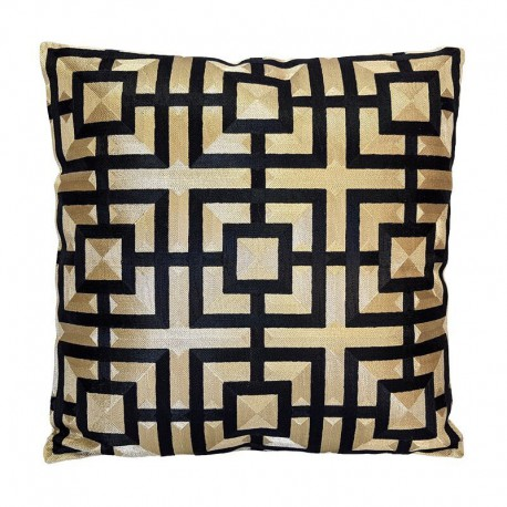 Ekskluzywna 50X50 złoto czarna wyszywana poduszka Art Deco