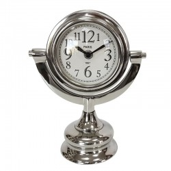 Elegancki niklowany zegar na kominek lub konsolę