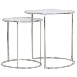 Zestaw dwóch niklowanych stolików kawowych z szybą