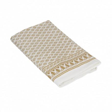 Biało złoty 90x90 świąteczny bawełniany obrus na ławę