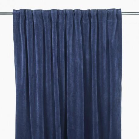 140x280 ciemno niebieska welurowa zasłona Marin Blue