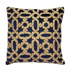 Luksusowa granatow-beżowa aksamitna  poduszka dekoracyjna