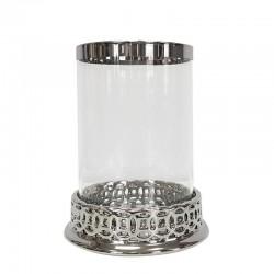 Szklany lampion z lamówką do wnętrz nowoczesnych