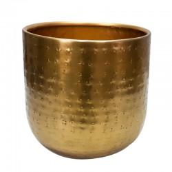 Metalowa złota osłonka na kwiaty h 15 cm