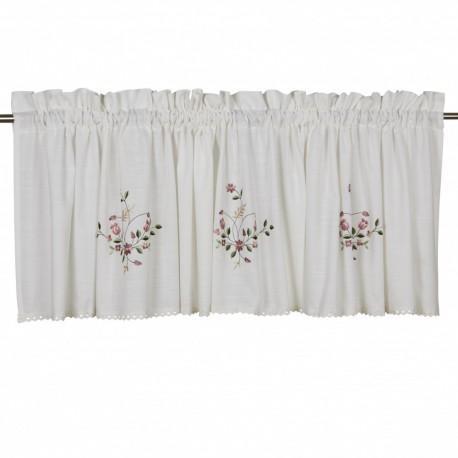 Biały lambrekin z koronką haftowane kwiatki