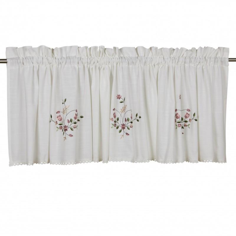 Biały lambrekin 50x250 z koronką haftowane kwiatki
