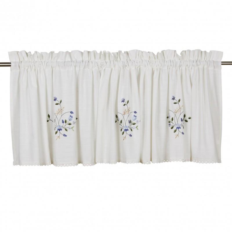 Biały lambrekin 50x250 z koronką haftowane niebieskie kwiatki