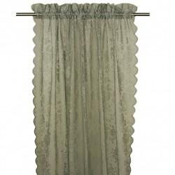 Koronkowa firana-zasłona na okno do sypialni. Kolor delikatna zieleń.