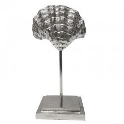 Hamptons srebrna aluminiowa  muszla na podstawie