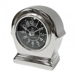 Niklowany zegarek na stolik nocny Modern Classic