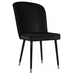 Czarne nowoczesne eleganckie krzesło tapicerowane