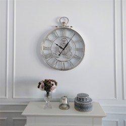 Luksusowy niklowany duży zegar 77cm nad kominek sofę