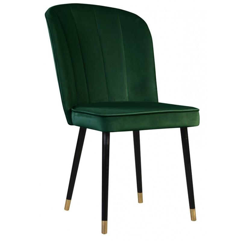 Ciemnozielone nowoczesne eleganckie krzesło tapicerowane