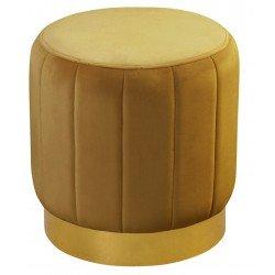 Welurowa złota puffa do sypialni w stylu Art deco