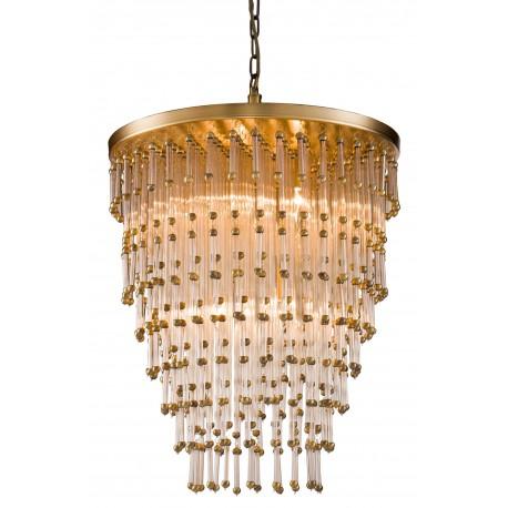 Kryształowa złota lampa wisząca do salonu Art Deco