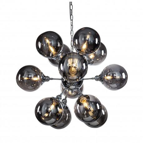 Nowoczesna szklana lampa wiszaca z dymionego szkła w stylu industrialnym