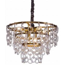 Żyrandol szklano złoty Art Deco