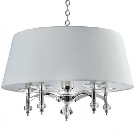 Elegancka kryształowa lampa do sypialni biały abażur