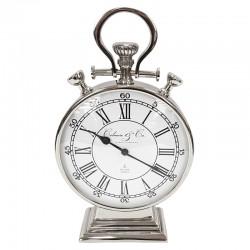 Niklowany zegar stojący na parapet konsolę w stylu Hamptons