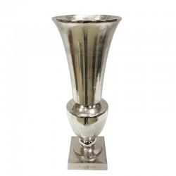 Luksusowy srebrny metalowy wazon ryflowane aluminium
