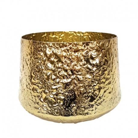 Art Deco duża złota osłonka na doniczkę