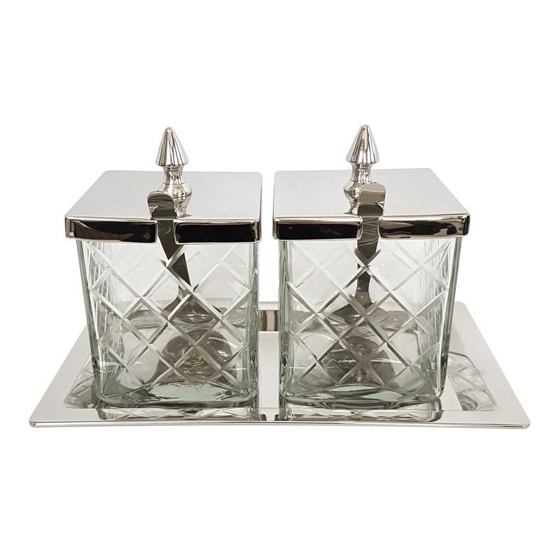 Luksusowe pojemniki kuchenne na tacce z łyżeczkami