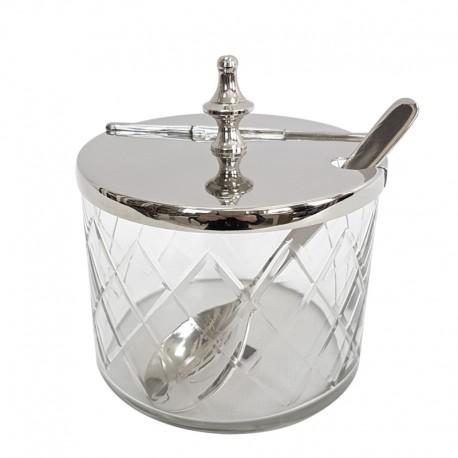 Luksusowa szklana cukiernica z łyżeczką New York