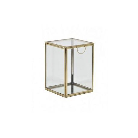 Szklana szkatułka metalowe złote boki na kosmetyki biżuterię New York