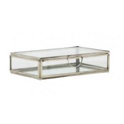 Szklana szkatułka niklowane boki spód lustro